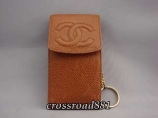 Authentic Chanel Brown Caviar Skin Cell Phone Case Good