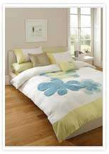 Cream Lime Green & Blue Floral Bedding & Cushion Cover