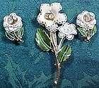 White Enamel Leave Brooch Rhinestone Center Matching Clip Earrings Set