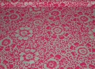 BTYx45 Hot pink floral SILK blend fabric semi sheer SILK fabric light
