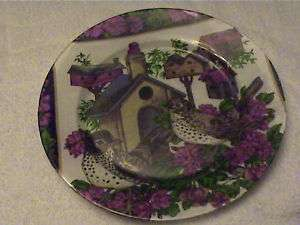 HAND MADE OLD VTG GLASS 10 PLATE,BIRD HOUSES,WALLPAPER