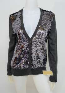 NWT Michael Kors 1X Plus Gray Silver Sequin Front V Neck Cardigan
