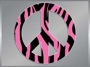 PEACE Sign Pink Zebra vinyl decal sticker 4 Symbol