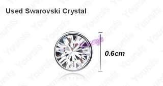 18K White Gold Plated Swarovski Crystal Charm Earring