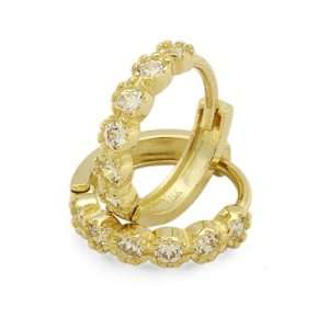 14K Gold Huggie Earrings 2 Gogeous CZ Set Yellow Gold Huggie Hoop For