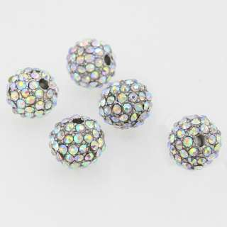 10MM AB AUSTRIAN CRYSTAL RHINESTONE LOOSE SPACER BEADS 5PCS