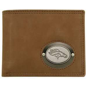 Denver Broncos Brown Leather Metal Emblem Billfold Wallet