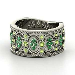 Renaissance Band, 14K White Gold Ring with Green Tourmaline & Emerald
