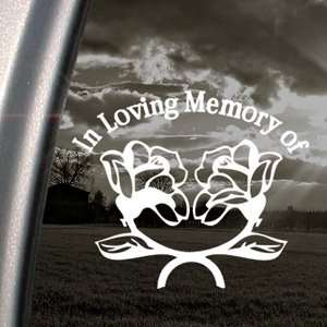 In Loving Memory Roses Decal Truck Window Sticker
