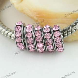 10X PINK CRYSTAL SPACER EUROPEAN CHARM LOOSE BEADS FINDINGS 8MM