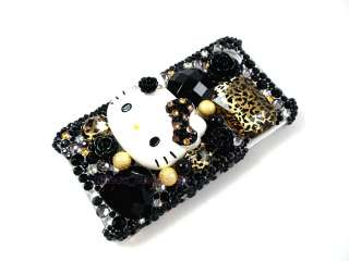 Kitty Leopard Bling Rhinestone Gem 3D Case for iPhone 4 4G 4S
