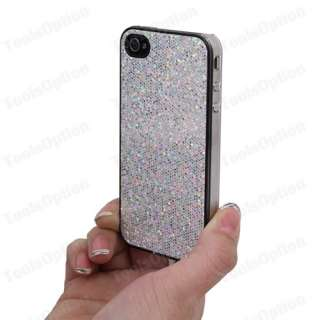 Black Bling Series Hard Case Apple iPhone 4 + Protective Film