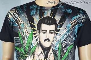 NWT Mens Jesus Malverde Rhinestone T Shirt Rhinestone