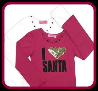 Haven Girl I LOVE SANTA Xmas shirt Pink Gold NEW 3T