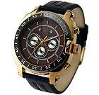 CHRONOGRAPH Genuine Leather MEN S WATCH EXTREME J.H / Black Brown