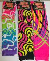 pair KNEE HIGH NEON DAZE SOCKS 9 11 Ladies Teens Bright Colors CUTE
