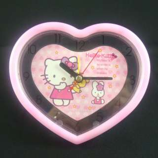 NEW PINK Cute Hello Kitty ALARM CLOCK desk heart#2833