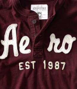 New AEROPOSTALE MENS LONG SLEEVE HENLEY Logo T Shirt Size XL EXTRA