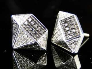 NEW MENS DIAMOND SHAPE WHITE FINISH BLACK/WHITE DIAMOND 13 MM STUDS