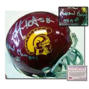 Lofa Tatupu USC Trojans Hand Signed Mini Helmet with 04 & 05 National
