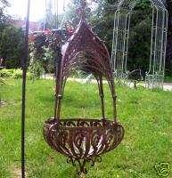 Lg. Hanging Basket Planter Basket Weave Latticed Top