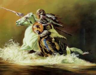 INDIAN WARRIOR ON HORSE 10x8 In Native Am. Theme Print