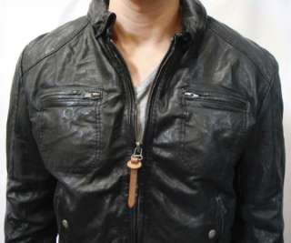Brand Mens Black Genuine Sheep Leather Jacket Lalo Motorcycle