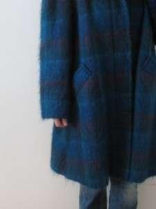 vtg 70s PEACOCK BLUE TURQUOISE LADIES MOHAIR WOOL SWING COAT JACKET