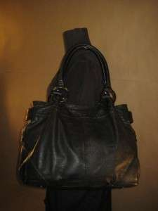 KENNETH COLE Black Leather Tote Shopper Satchel Shoulder Purse Ring