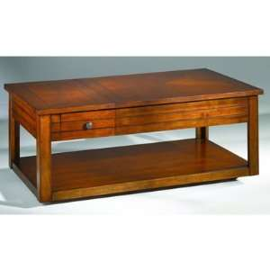 Cherry Finish Lift Top Storage Cocktail Table