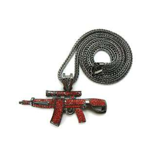 Black with Red Iced Out AK 47 Pendant with a 36 Inch Franco Chain