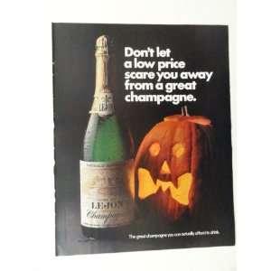 Lejon Champagne. 1970 full page print ad(pumpkin.) original vintage