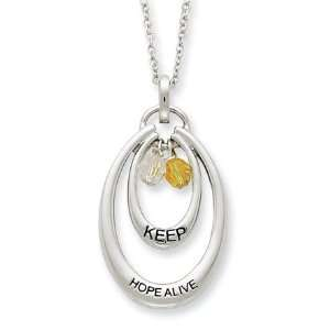 Keep Hope Alive, Double Oval Necklace in Silver Jewelry