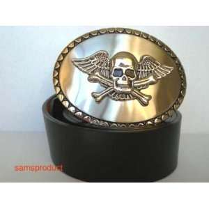 Famous Flying Skull & Bone Belt Buckle and Leather Belt