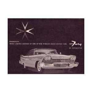 1958 PLYMOUTH FURY Sales Brochure Literature Book Automotive