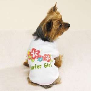Hawaiian Floral Print Surfer Girl Dog Tee Shirt  Size: X