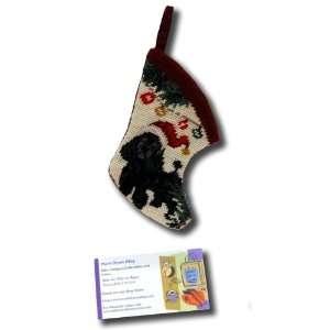 Black Poodle Dog Stocking Needle Point Christmas Xmas Seasonal Puppy