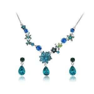 Silver Tone Swarovski Crystal Element Enamel Flower Jewel