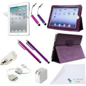 Purple PU Leather Case / Stand / Cover for Apple iPad 2 / iPad