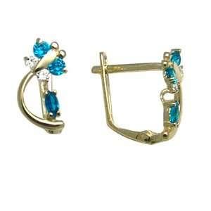 Blue   Spring Time Butterfly 14k Yellow Gold Huggie Earrings Jewelry