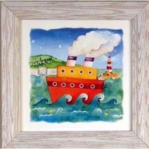 Tug Boat Lighthouse Kids Room Decor Art Framed Print