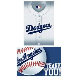 Lets Party By Amscan Los Angeles Dodgers Baseball   Invite & Thank You