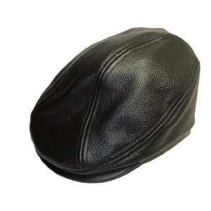 Black Genuine Leather Driving Cap Classic MADE IN USA