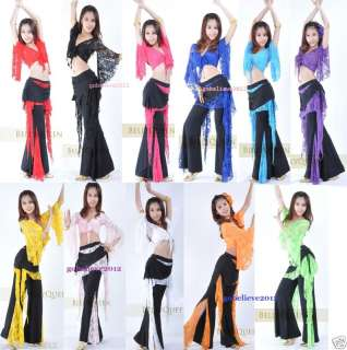 Brand New Sexy Belly Dance Costume Set Top & Pants 11 Colors Free