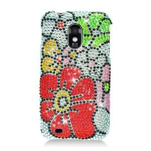 Samsung D710 Epic 4G Flower Green Red Full Diamond Bling