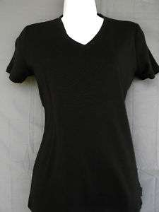 Womens Liz Claiborne Solid Black Tee Size Small