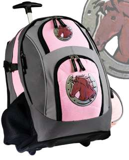 Cute Horse ROLLING BACKPACKS School Bags with Wheels BEST HORSE GIFTS