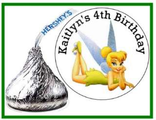 216 TINKERBELL BIRTHDAY PARTY FAVORS HERSHEY KISS LABELS