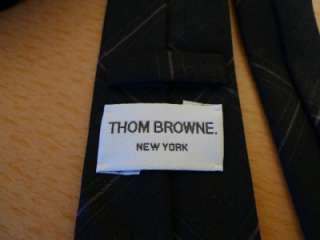 THOM BROWNE Tie Neck tie Wool Grey Stripe Check Plaid New Rare