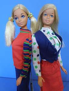 Vintage MOD 1972 MALIBU BARBIE & PJ DOLL in UNITED AIRLINES STEWARDESS